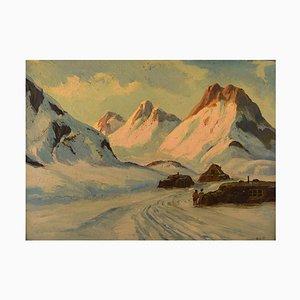 Greenlandic Landscape Oil on Canvas by Emanuel A. Petersen