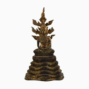 Bangkok School Big Buddha in Patinated Bronze, 1800s