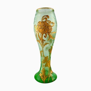 Large Art Nouveau Vase in Mouth-Blown Art Glass, Montjoye, France, 1880s