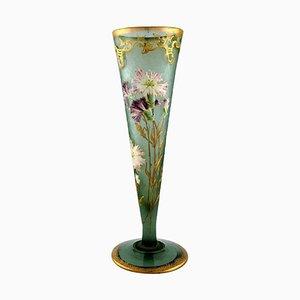 Große Jugendstil Vase aus Mundgeblasenem Glas von Montjoye, Frankreich, 1880er