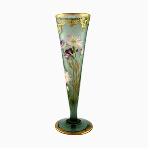 Large Art Nouveau Vase in Mouth-Blown Art Glass by Montjoye, France, 1880s