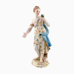 Meissen Porcelain Figurine Woman in Dress with Flowers, 1900s