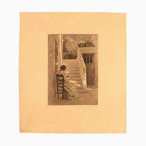 Aguafuerte Peter Ilsted italiana mujer, década de 1900