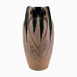 French Art Nouveau Ceramic Vase from Denbac Produced in Vierzon