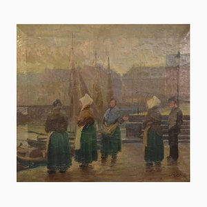 Fishwives at the Old Dock Oil on Canvas by Søren Christian Bjulf