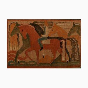 Acquarello con matita e cavalli su tela, anni '30