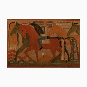 Male and Horses Watercolor and Pencil on Canvas, 1930s