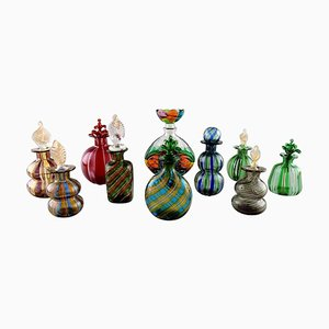 Large Collection Murano Facons Bottles, 1960s, Set of 10