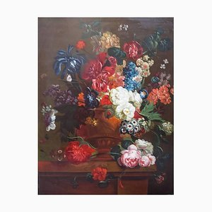 Flower Still Life Large Painting, Early 20th Century