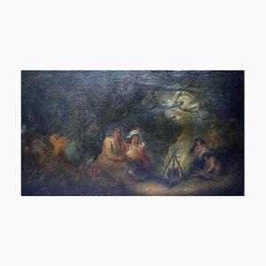 Oil on Canvas People Around Bonfire, 1800s