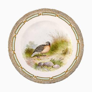 Royal Copenhagen Flora Danica & Fauna Danica Dinner Plate with a Bird
