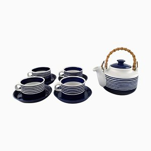 Cobalt Tea Cups by Karin Björquist for Gustavsberg, 1960s, Set of 9