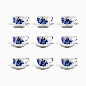 Royal Copenhagen Blue Flower Angular Espresso Mocha Cups, Set of 9