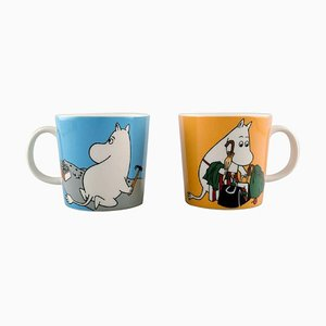 Cups in Porcelain with Motifs from Moomin from Arabia, Finland, Set of 2