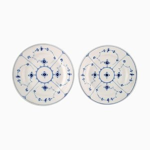 Antique Royal Copenhagen Blue Fluted Lunch Plates, Mid-1800s, Set of 2