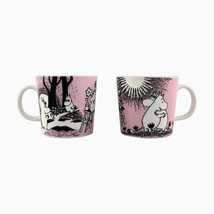Cups in Porcelain with Motifs from Moomin from Arabia, Set of 2