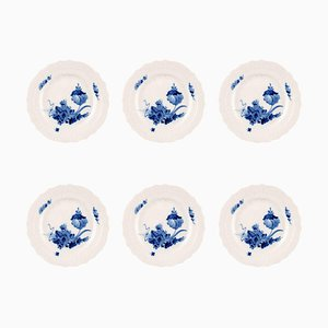 Royal Copenhagen Blue Flower Curved Flat Lunch Plates No. 10/1624, 1960s, Set of 6
