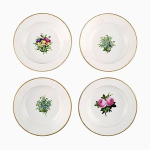 Antique Royal Copenhagen Deep Plates in Flora Danica Style, Set of 4