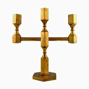 Gusum Metal & Brass Candleholder for Three Lights, Swedish Design