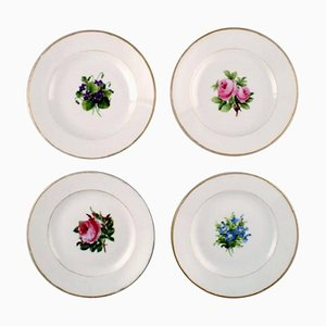 Antique Royal Copenhagen Flat Plates in Flora Danica Style, Set of 4