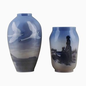 Royal Copenhagen Vases Swans in Landscape and Mother and Daughter, Set of 2