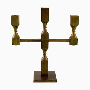 Gusum Metal Candlestick in Brass for Three Candles, Swedish Design