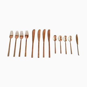 Sigvard Bernadotte Scanline Cutlery in Brass, 1960s, Set of 13