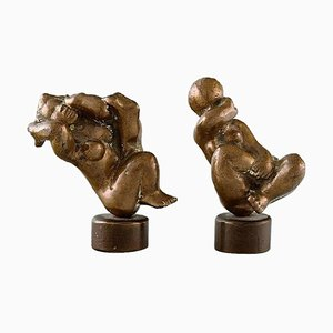 Patinated Bronze Figures of Naked Women, Set of 2