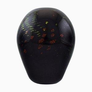 Vase in Black Mouth Blown Art Glass by Paul Grähs