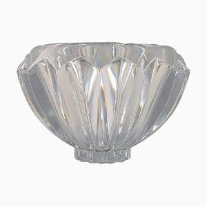 Large Modernist Bowl in Clear Art Glass, Orrefors, Sweden, 1980s
