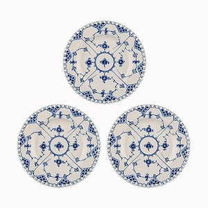 Royal Copenhagen Blue Fluted Lunch Plates, 1960s, Set of 3