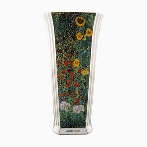 Large Goebel Vase in Porcelain with Gustav Klimt Floral Motif