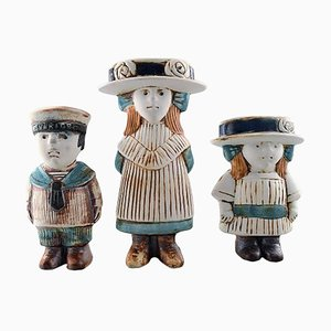 Swedish Child Figurines by Lisa Larson for Gustavsberg, 1950s, Set of 3