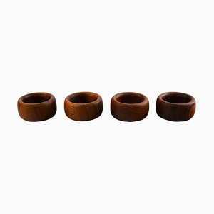 Kay Bojesen Four Napkin Rings in Teak, 1950s, Set of 4