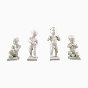 Boy Figures Blanc De Chine by Edit Bjurström for Rörstrand, Sweden, Set of 4