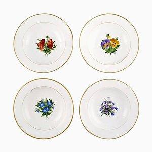 Antique Royal Copenhagen Deep Plates in Flora Danica Style, Set of 4