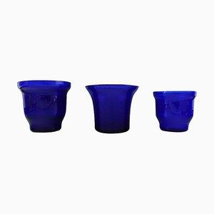 Lyngby Kunstglas Vasen in Blau, 3er Set