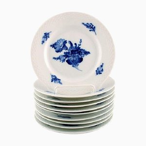 Blue Flower Braided Cake Plates from Royal Copenhagen Number 10/8092 1960s, Set of 10
