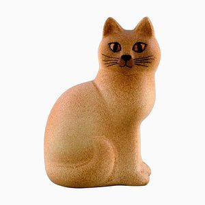 Escultura de gato de cerámica esmaltada de Lisa Larson para K-Studion & Gustavsberg
