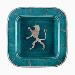 Art Deco Argenta Dish in Ceramic Decorated with Lion by Wilhelm Kåge for Gustavsberg