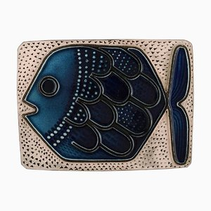 Mari Simmulson for Upsala-Ekeby Glazed Ceramic Wall Plaque Decorated with Fish