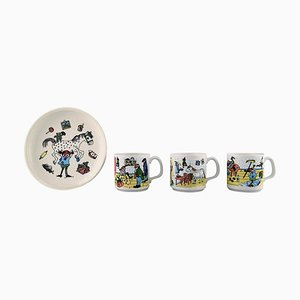 Cups and Plate in Porcelain with Pippi Longstocking Motifs, Set of 4