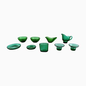 Arthur Percy for Nybro Sweden Collection of Green Art Glass, Set of 9