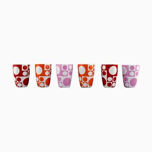 Verner Panton Porcelain Mugs with Geometric Pattern, Set of 6