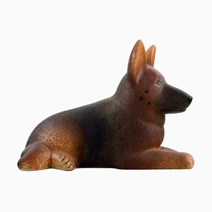 Lisa Larson for Gustavsberg German Shepherd in Glazed Stoneware