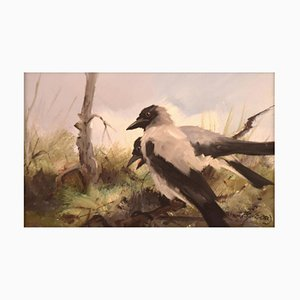 Oil on Canvas Two Magpies by Per Åkered, Sweden