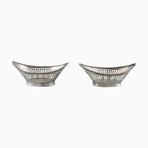 Silberne Schalen mit netzförmigen Verzierungen, 2er Set