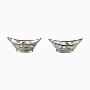 Silver Bowls with Reticulated Decoration, Set of 2