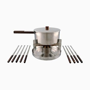 Arne Jacobsen for Stelton Cylinda Line Fondue Set in Stainless Steel and Teak, 1970s, Set of 11