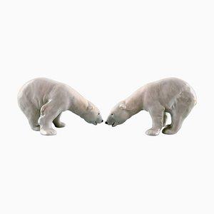 Vintage No. 054 Polar Bears Sculpture from Royal Copenhagen, Set of 2